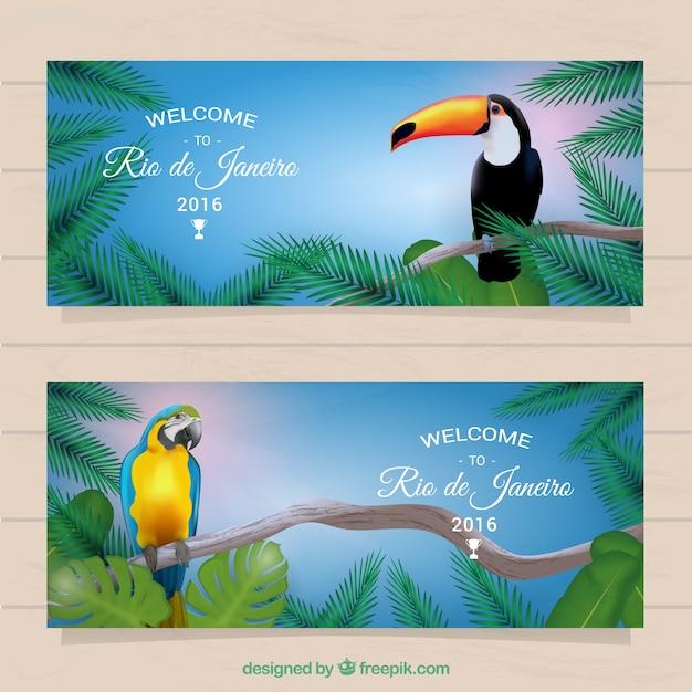 Rio de janeiro banners with tropical birds Free Vector