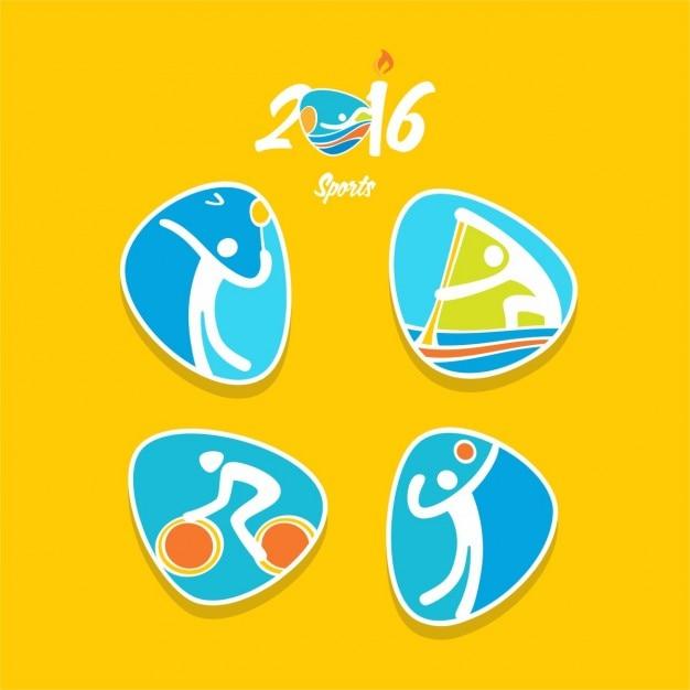 Бадминтон чемпионат велоспорт автомобильный волейбол значок rio олимпиада Бесплатные векторы