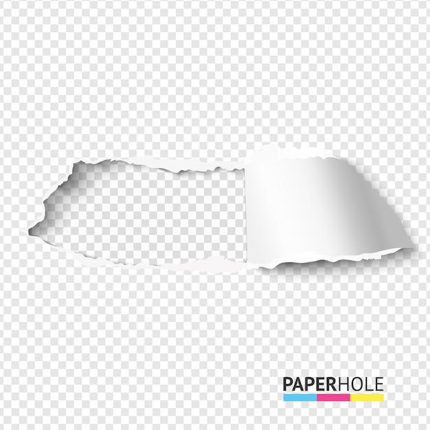 Разорвать бумажное отверстие на прозрачном фоне Premium векторы