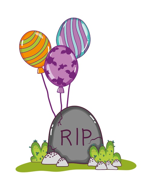 Rip stone tablet with funny balloons Premium Vector