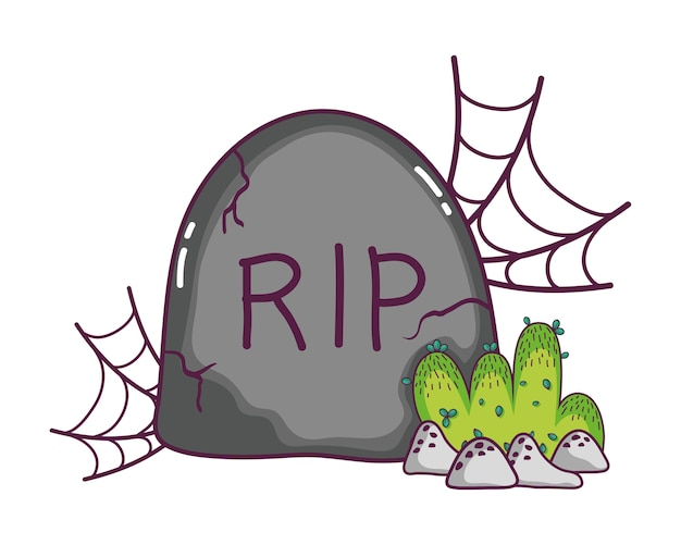 Rip stone with spiderweb and bushes with rocks Premium Vector