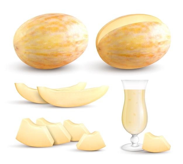 Спелые свежие желтые мелоен целые сегменты кусочки размером с кусочек и сок реалистичные коллекции изображений крупным планом Бесплатные векторы