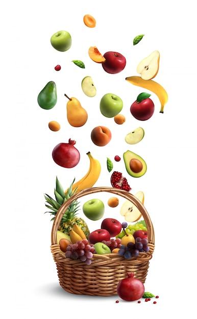 Спелые плоды падают в традиционную плетеную корзину с реалистичной ручкой композиции с грушево-банановым яблоком Бесплатные векторы