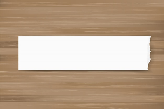 Ripped paper background on brown wood texture. Premium Vector