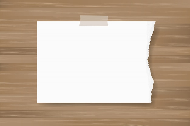 Ripped paper background stick on wood texture. Premium Vector