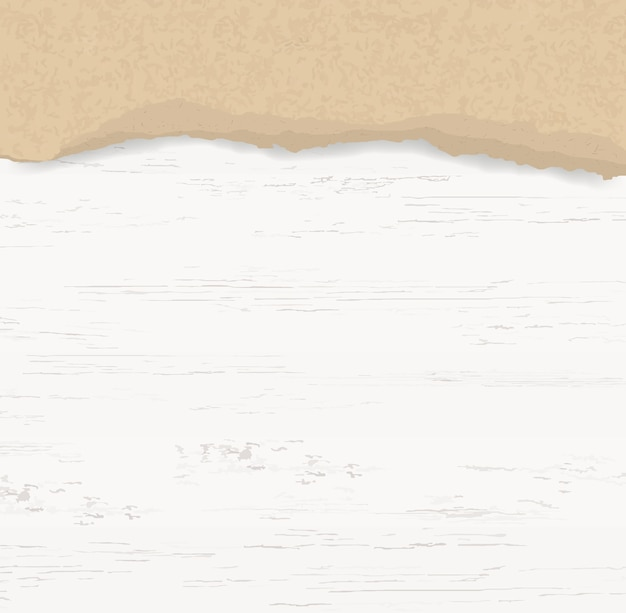 Ripped paper background on wood. Premium Vector