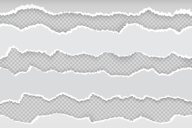 破れた紙のページ。新聞の横の引き裂かれたストリップ、現実的な透明な白い段ボールのリップエッジ。バナーラフエッジグレーイラスト Premiumベクター