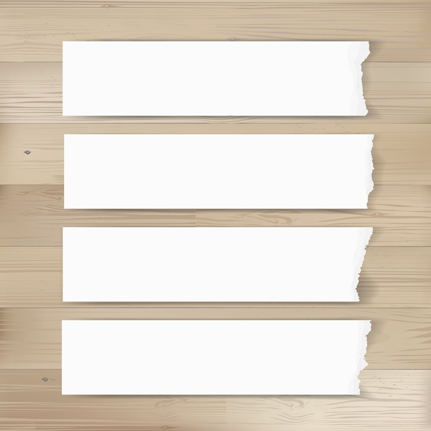 Ripped paper tag background on wood. Premium Vector