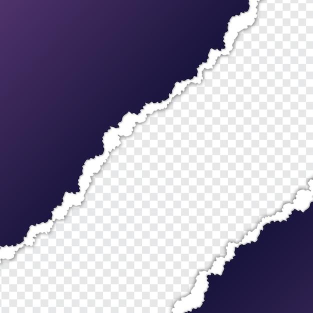 背景が透明な紫色の紙をリッピング Premiumベクター