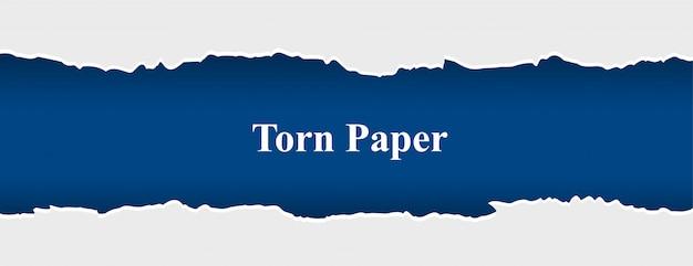 Striscione di carta strappata strappato in colore bianco e blu Vettore gratuito