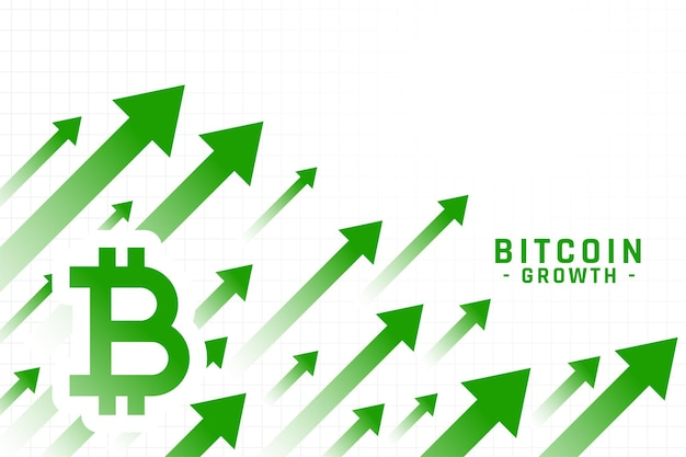 Rising price of bitcoin growth chart Free Vector