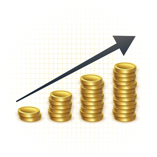 Rising prices for gold concept chart Free Vector