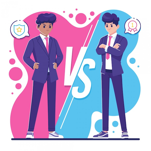 Rivalry concept business people characters illustration Premium Vector