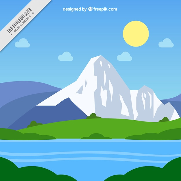 River and mountain background