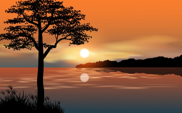 River beautiful sunset with tree silhouette Premium Vector