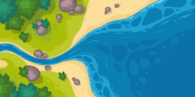 Flusso del fiume nella vista superiore del mare o stagno, alveo stretto del fumetto che va all'ampia acqua con le rocce Vettore gratuito