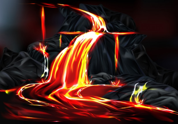 River and fountains of hot lava flowing from mountain rocks during volcano eruption Free Vector