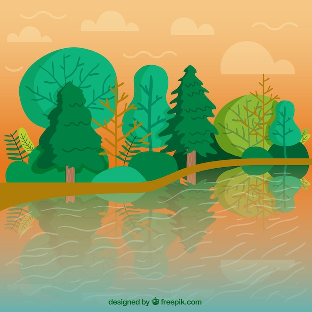 River landscape background with green\ trees
