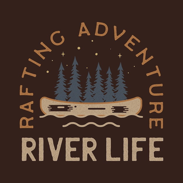 River life logo design. rafting adventure badge patch. camp design for t-shirt, other prints. outdoor insignia label. stock Premium Vector