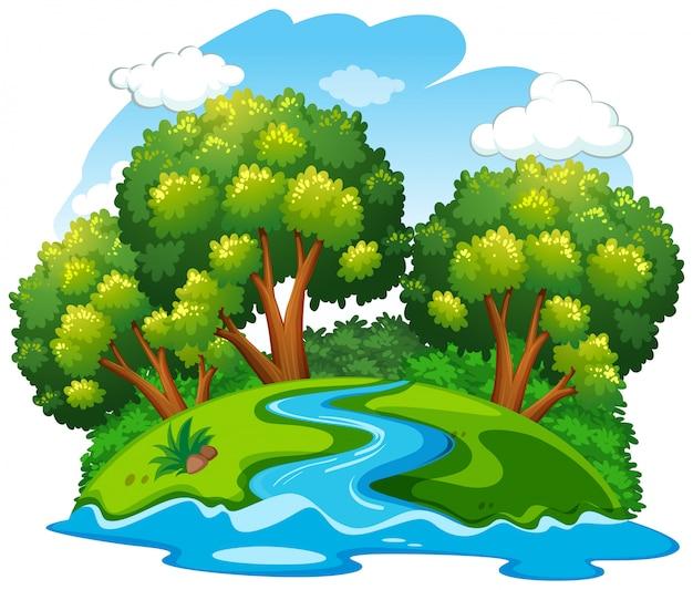 A river natural landscape Premium Vector