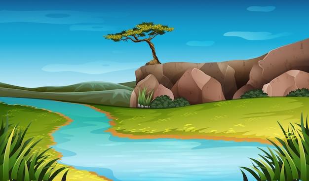 River nature landscape scene Premium Vector