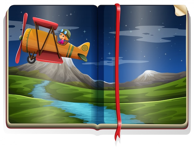 River scene with airplane flying in the book Free Vector