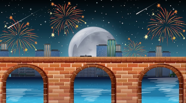 River scene with celebration fireworks Free Vector