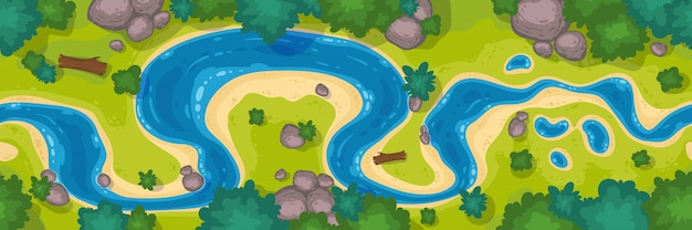 River top view, cartoon curve riverbed with blue water, coastline with rocks, trees and green grass Free Vector