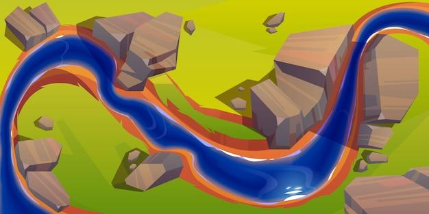 Vista superiore del fiume, alveo della curva con acqua blu Vettore gratuito