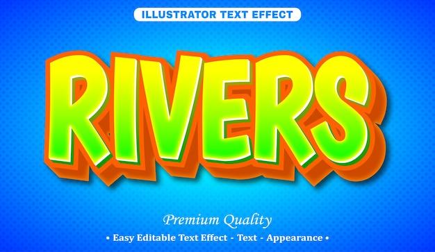 Rivers 3d editable text style effect Premium Vector