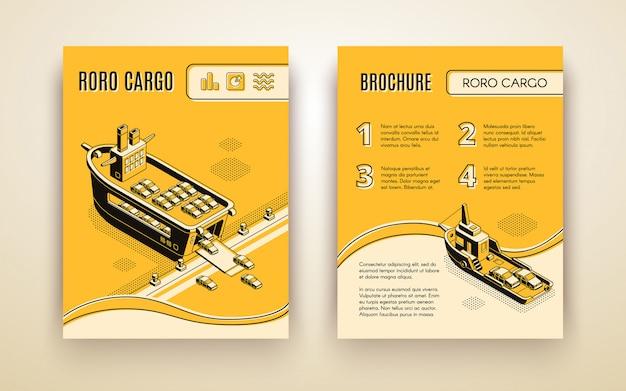 Ro-ro cargo company ad brochure isometric Free Vector