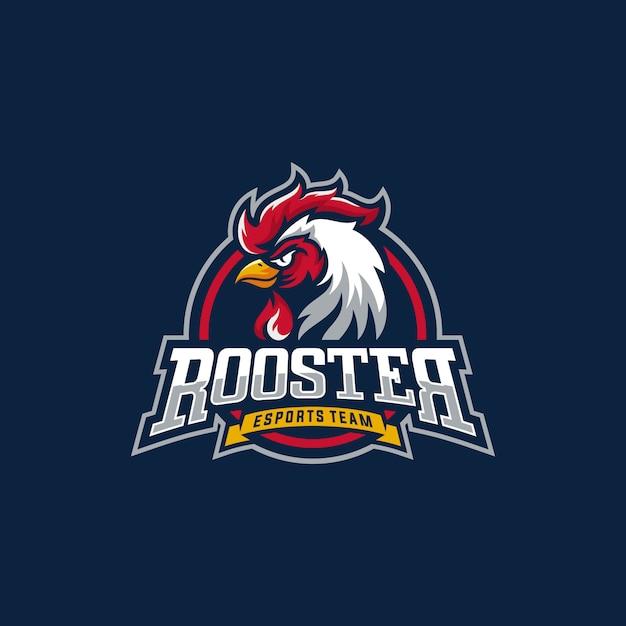オンドリのマスコットスポーツのロゴ。鶏ro頭マスコット Premiumベクター
