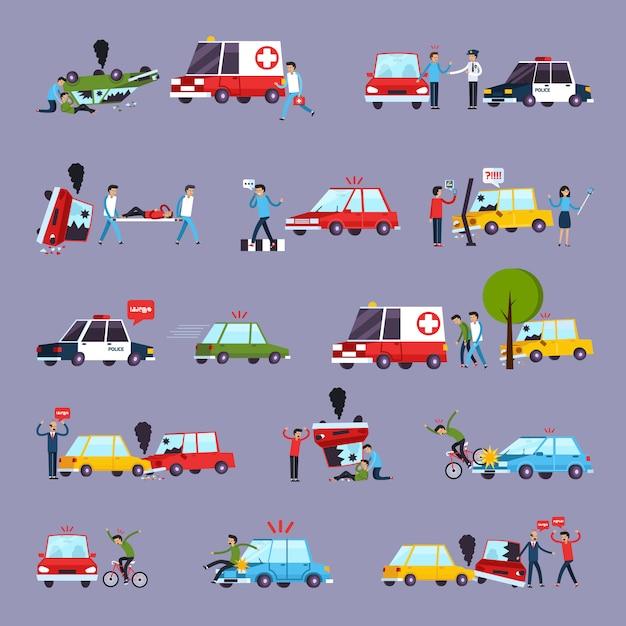 Набор иконок дорожно-транспортных происшествий Бесплатные векторы
