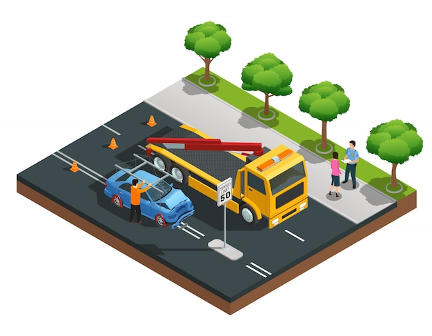 Road accident isometric composition with damaged car evacuator drivers and policeman vector illustra Free Vector