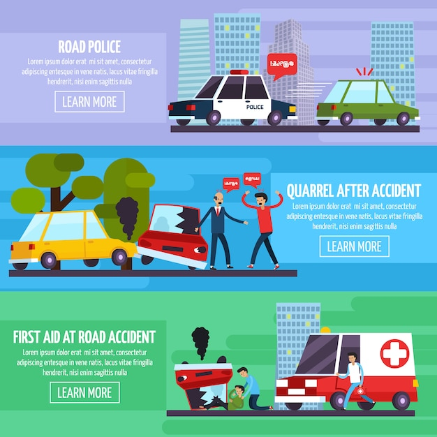 Road accidents banners set Free Vector