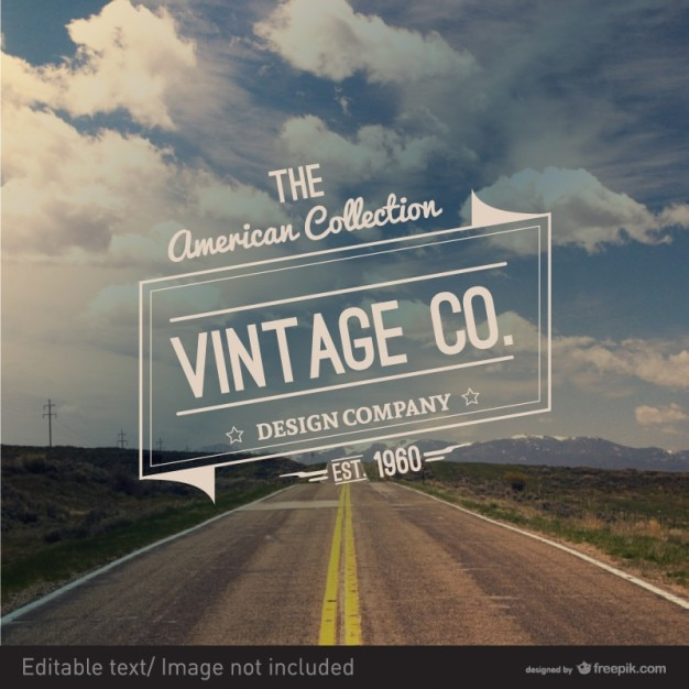Road badge vintage style Free Vector