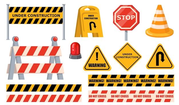 도로 장벽이 설정됩니다. 경고 및 정지 표지판, 건설 보드, 노란색 테이프 및 원뿔 아래. 장애물, 도로 공사, 교통 바리케이드 개념에 대한 평면 벡터 일러스트. 무료 벡터
