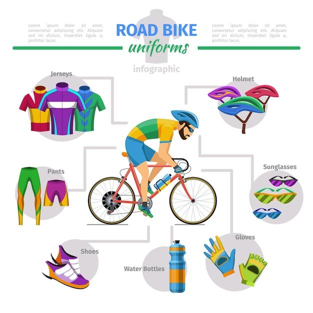 ロードバイクのユニフォームベクトルインフォグラフィック。自転車と手袋、ジャージとヘルメット、靴の快適さのイラスト 無料ベクター