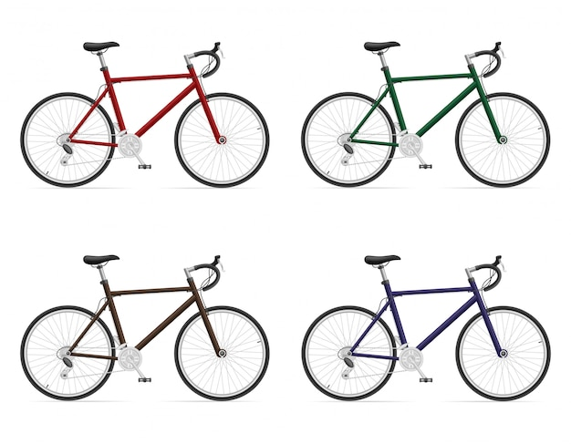 Road bikes with gear shifting Premium Vector