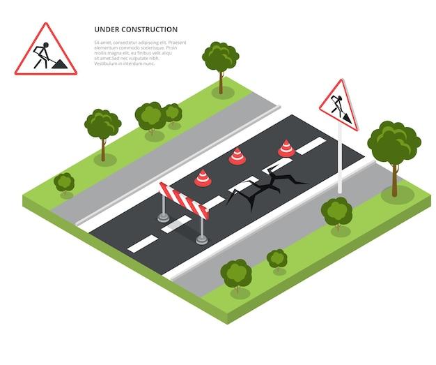Road block under construction Premium Vector