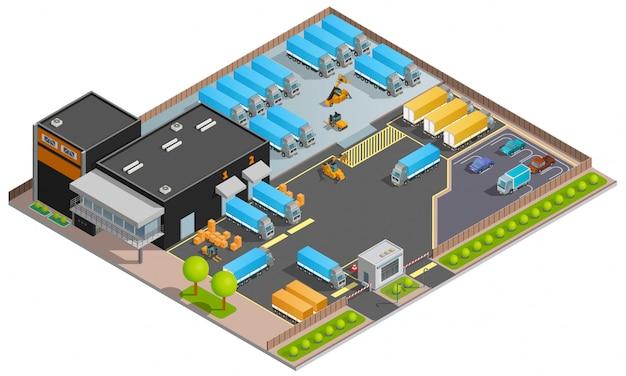 Road cargo transportation isometric illustration Free Vector