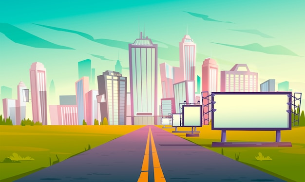Road to city with billboards perspective view Free Vector