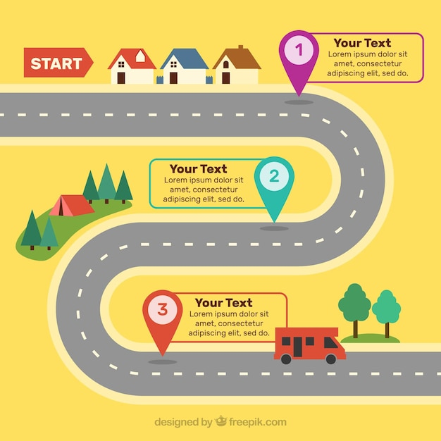 Road concept for infographic timeline Free Vector