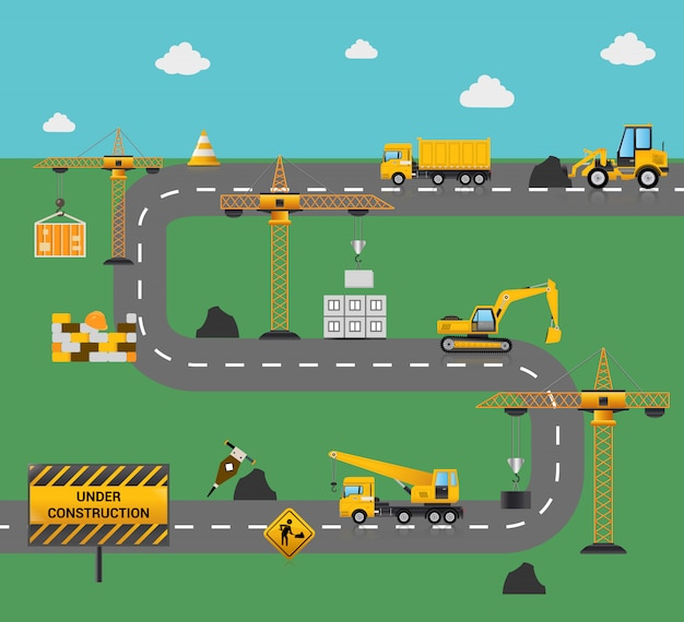 Road construction concept Free Vector