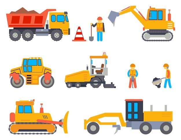 Set di icone piane di strada in costruzione. industria automobilistica, lavori stradali, macchine e finitrici, trasporti industriali, illustrazione vettoriale Vettore gratuito