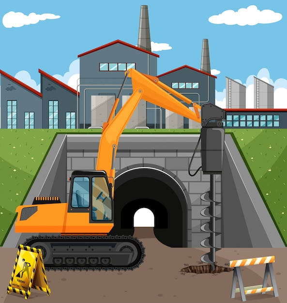 Road construction scene with driller Free Vector