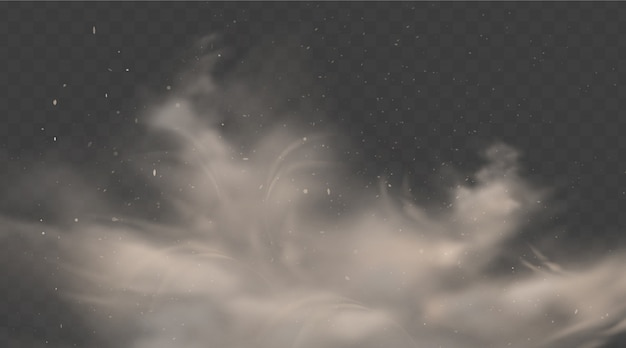 Road dust cloud. smoke with stones and flying dirty, soil particles isolated Premium Vector