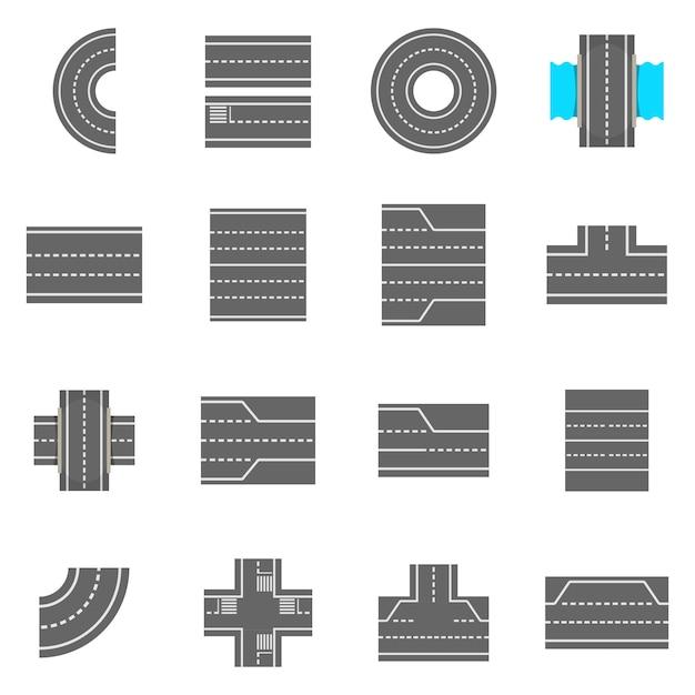 Road elements constructor icons set Premium Vector