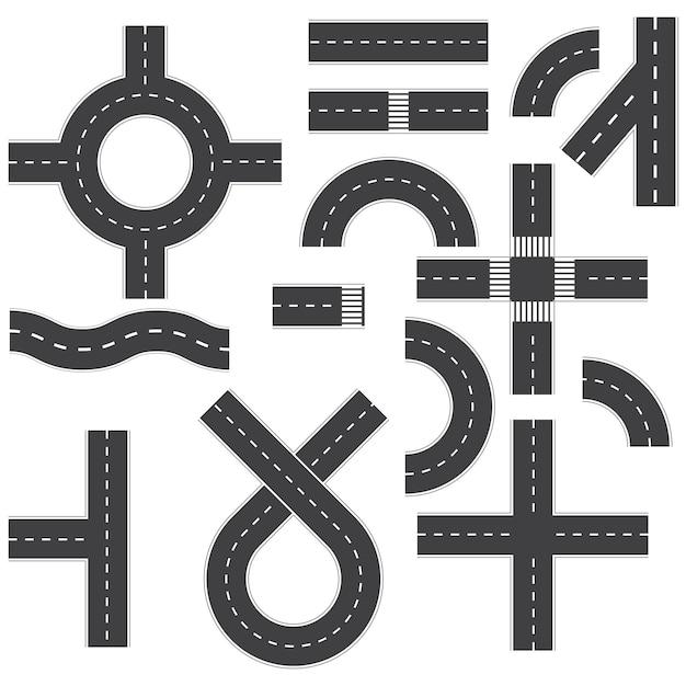 Иллюстрация дорожных элементов на белом Premium векторы