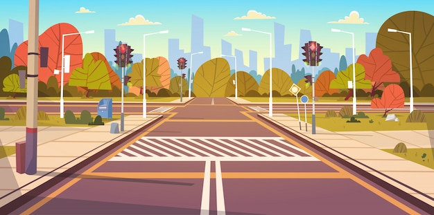 Road empty city street with crosswalk and traffic lights Premium Vector